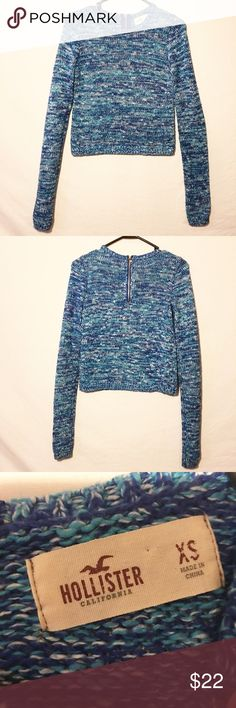 Hollister blue knit sweater size XS! XS! Very blue color that is gorgeous! Long comfy sleeves! Zipper closure in back! Make an offer! Hollister Sweaters Crew & Scoop Necks