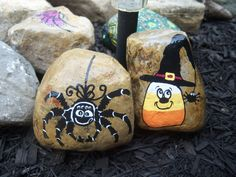 Here are some Halloween Rocks I painted for my garden!