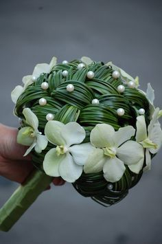 Unique Braided Bouquet with Ascocenda Orchids blooms. Intricate, simple, & dainty.
