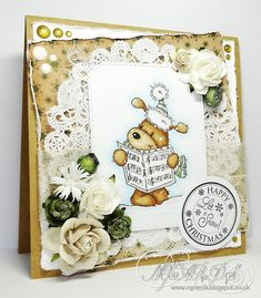 I'm back with another card using the new LOTV 'Carol Singing' stamp set, I've also teamed it with a sheet of paper from one. Let It Snow, Let It Be, Vintage Christmas, Christmas Cards, Green Color Schemes, Paper Doilies, Penny Black, Digi Stamps, Lily Of The Valley