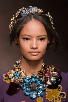 Dolce & Gabbana Fall 2014, fashion, style, accessories, headchain, head chain, headpiece, headband