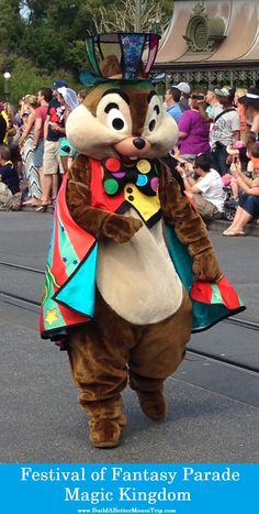 Chip (of Chip 'n' Dale) in the Festival of Fantasy Parade in the Magic Kingdom at Disney World. #Disneyworld #MagicKingdom #FestivalofFantasy #WDW