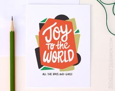 """Cute Holiday Card """"Joy to the World"""" A2 Greeting Card by seriouslyshannon on Etsy $4.50"""
