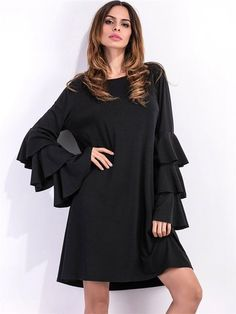 Flouncing Loose Long Horn Sleeve O-neck Women Casual Dress