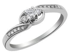Three Stone Diamond Promise Ring 1/5 Carat (ctw) in 10K White Gold, Size 8
