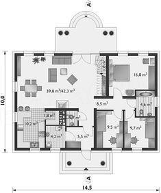 Projekt domu Aleksandria Tura - murowana – ceramika 141,3 m2 - koszt budowy - EXTRADOM Planer, House Plans, Sweet Home, Floor Plans, How To Plan, Houses, Home Plans, Homes, House Beautiful