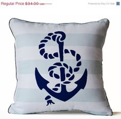 4th of July SALE Throw Pillow Cover Anchor Pillow by AmoreBeaute