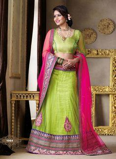 ingenious-resham-booti-work-lime-green-color-wedding-wear-net-lahenga-choli-800x1100.jpg (800×1100)