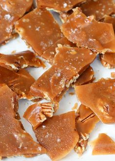 Sea Salt Pecan Toffee is the answer to your snacking and sweet tooth dreams. Do I exaggerate? Pecan Toffee Recipe, Pecan Recipes, Gourmet Recipes, Dessert Recipes, Cooking Recipes, Hard Candy Recipes, Gourmet Candy, Bar Recipes, Cooking Tips