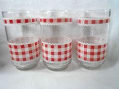 VTG Tumbler RED Gingham print Drinking Glasses Barware Kitchen Utensil 12oz