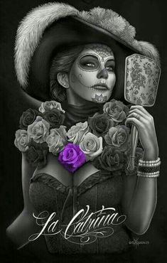Day of the Dead Dia de Los Muertos Canvas Wall Art Inch Roses Catrina Mode Pin Up, Aztecas Art, David Gonzalez, Chicano Love, Catrina Tattoo, Cholo Art, Rock And Roll, Lowrider Art, Day Of The Dead Art