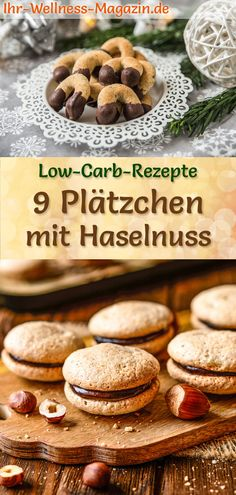 9 Hazelnut Cookie Recipes - Low Carb, Simple, No Sugar - Bake cookies with hazelnut: simple low-carb recipes for quick, healthy Christmas cookies without su - Cookie Recipes From Scratch, Holiday Cookie Recipes, Healthy Christmas Biscuits, Low Carb Recipes, Baking Recipes, Eating Once A Day, Bruchetta Recipe, Law Carb, Hazelnut Cookies