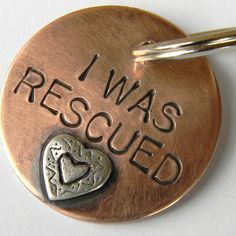 I WAS RESCUED Pet Tag, Copper and Sterling Silver Dog Tag In Three Sizes