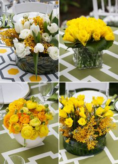 How bright and beautiful are these yellow floral arrangements?