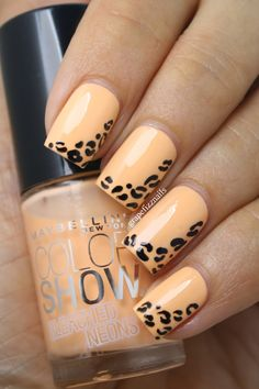 Bleached Neon Leopard Print Mani