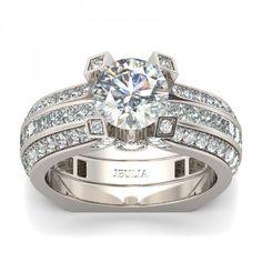 Jeulia Interchangeable 2.0 CT Round Cut  Created White Sapphire Wedding Set #affiliate