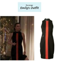 "On the blog: Emily Thorne's (Emily Van Camp) mockneck dress with red center stripe | Revenge – ""Payback"" (Ep. 314) #tvstyle #tvfashion #outfits #fashion"