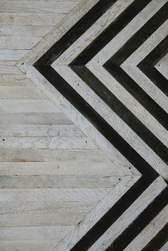 wood + chevron feature