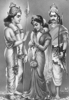 Murugan Weds Valli Indian Goddess Kali, Durga Goddess, Indian Gods, Ganesha Art, Lord Ganesha, Lord Krishna, Lord Murugan Wallpapers, Lord Shiva Family, Shiva Shakti