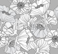 poppy botanical: Seamless floral pattern. Background with poppy flowers.