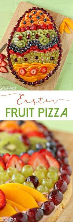 Easter Egg Fruit Pizza - fresh fruit, strawberry cream cheese, and a sugar cookie crust!   From SugarHero.com