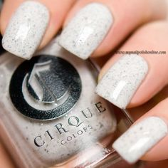 Cirque Colors - Hatch ~ white polish with black microglitter - looks fabulous matte ~ swatch by My Nail Polish Online