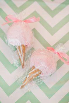 "Cotton candy ""Ice Cream Cone"" favors"