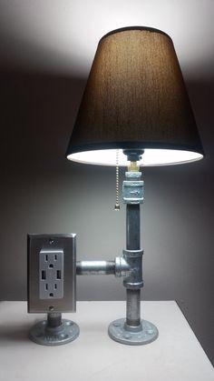 Black iron pipe lamp, front … | Pinteres…