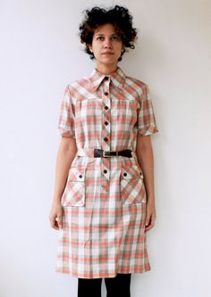vintage 1970's plaid day dress by mydrawingnumberone on Etsy, $46.00