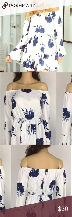 "Blue and White Floral Boho, "" Camille "" mini 🌸❤️ Gorgeous, beachy, lightweight mini , !!! Perfect for summer date nights!! Effortlessly Chic! Size Large, measurements above in last pic ,!!! Fits more on the Medium side/ please use measurements for your guide in pics below ❤️🌸 LuciaraeCouture Dresses Mini"
