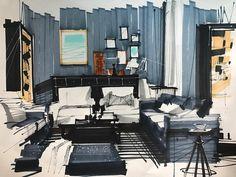Drawing Interior, Interior Design Sketches, Industrial Design Sketch, Interior Rendering, Interior Design Inspiration, Architecture Artists, Interior Architecture, Classical Architecture, Landscape Architecture