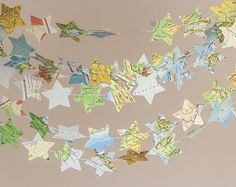 Paper garland star garland bunting recycled map by BrotherWorks, $8.00