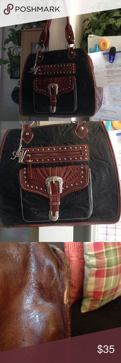 Vintage American West Leather Purse This vintage tooled leather purse has minor flaws throughout but it's expected as leather ages it is well taken care of and looks fabulous. I have pics of the bottom of purse but it looks great as is. If you need more pics just ask. American west Bags Shoulder Bags