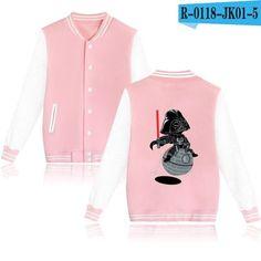 BTS Star War Baseball Jacket Women Plus Size Long Sleeve Pink Spring Jacket Women O-Neck Casual Outerwear Funny Fashion Coats
