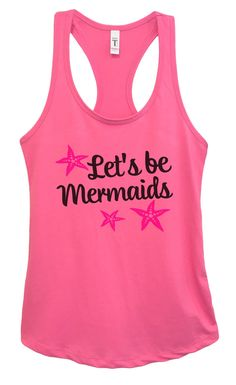 Womens Let's Be Mermaids Grapahic Design Fitted Tank Top