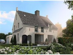 oscar v keerbergen Building Exterior, Building A House, Cosy Garden Ideas, Sweet Home Design, Village House Design, Stucco Homes, House Landscape, Dream House Exterior, Architectural Features