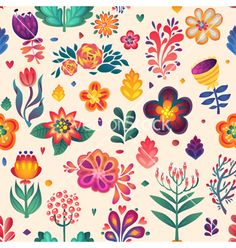 Watercolor Flowers seamless pattern decorative card doodle vector by Lara_Cold on VectorStock®