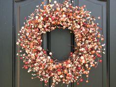 Rhubarb Pie - Fall Wreaths - Berry Wreath - Year Round Berries - Harvest Decor - Front Door Wreaths - Seasonal Decor on Etsy, $75.00