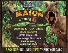 Jurassic World Invitation, Jurassic Park Invitations, Jurassic Birthday Invitation, Dinosaur Invite, Birthday Party At Park, Girls Birthday Party Themes, Baby Boy Birthday, 5th Birthday, Birthday Angel, Dinosaur Birthday Invitations, Dinosaur Birthday Party, Birthday Invitation Templates, Invitation Ideas