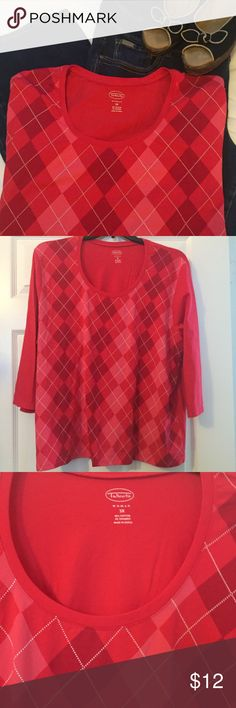 """Red Argyle 3/4"""" sleeve top Gorgeous red color argyle top. Cotton with some stretch to hold a great shape. Nearly new. Talbots Tops"""
