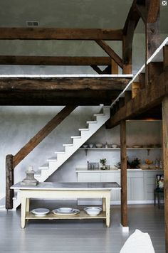 rustic primitive railings, newel post. High ceilings. Loft space. Photo by Paul Brissman