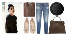 """""""EXO Xiumin"""" by banana-lee ❤ liked on Polyvore featuring Industry Of All Nations, Giuseppe Zanotti, Monki and Fendi"""