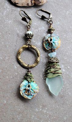 Sea Glass Earrings Asymmetrical earrings Mismatched