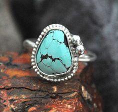 Turquoise Ring  Sterling Silver Ring  Artisan by EarthsBountyGems