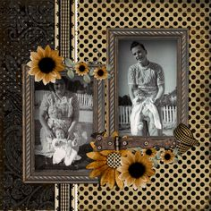 Mommy & Daddy & Me...simple and lovely background of heritage style papers really highlight the photos.