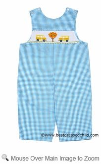Anavini Velani Classics Baby / Toddler Boys Turquoise Checks Smocked School Day / Yellow Bus LONGALL