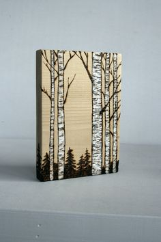 Birch Trees - Woodland Nature Art Block - Original Woodburning on Salvaged Wood