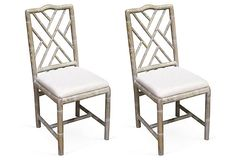 One Kings Lane - Pull Up a Seat - Brighton Bamboo Side Chairs, White, Pair Luxury Dining Chair, Wicker Dining Chairs, Dining Rooms, Chippendale Chairs, Kitchen Banquette, Decoration, Chair Design, Side Chairs, Bamboo