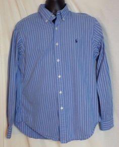 Polo Ralph Lauren Blue Striped Long Sleeve Cotton Button Down Shirt Size M #PoloRalphLauren #ButtonFront