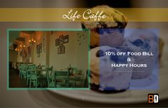Life cafe offers a great ambience, indoor and outdoor. Get a 10% discount on Food Bill and Happy Hours all till 7pm!  Book now at www.bookingdiva.com Call us: 9555557585  #BookingDiva